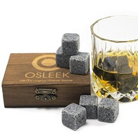 Whiskey sipping stones - Set of 9 pure soapstone Beverage Chilling rocks - Keeps your drink Ice cold and no water dilution - stored in a gift box - velvet bag included for refrigerating