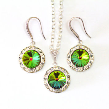 Bridesmaid Jewelry Set Swarovski Crystal Rivoli Jewelry Set Vitrail Medium  Pink Green Necklace Earrings Set Crystal 511e29fa3