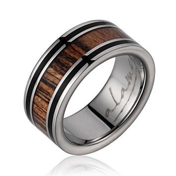 GENUINE EBONY GABON & BOCOTE WOOD WEDDING BAND RING TITANIUM 8MM SIZE 3-14