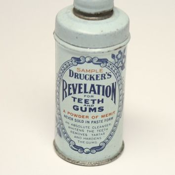 Druckers Revelation Teeth Gum Powder Sample Tin Blue Design 1932