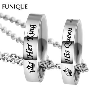 FUNIQUE New Fashion Letter Carved Her King His Queen Hole Pendant Necklace Couple Holes Charm Link Chain Necklace Lover Women