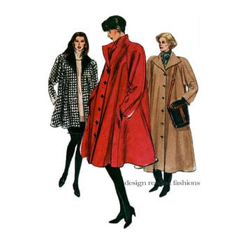 VOGUE COAT PATTERN Flared Loose-Fitting Swing Coat Pattern Vogue 7902 Bust 40 42 44 UNCuT 1990s Women's Plus Size Vintage Sewing Patterns