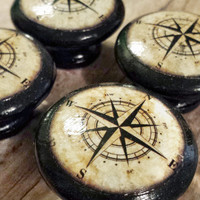 "Handmade Nautical Birch Wood Knob Drawer Pulls, Antique Style Compass Cabinet Pull Handles, 1.5"" Sea Dresser Knobs, Made To Order"
