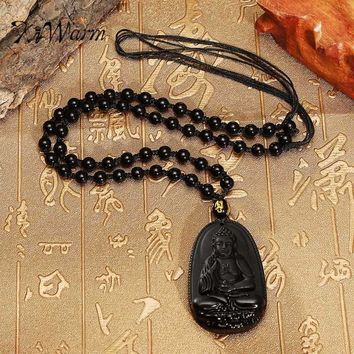 KiWarm Natural Black Obsidian Carved Lucky Sakyamuni Buddha Amulet Pendant with Beads Necklace Gemstone Fengshui Crafts Gift