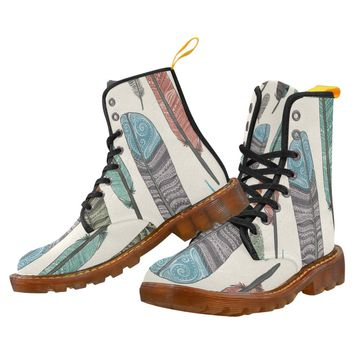 Feather Lace Up Martin Boots for Women