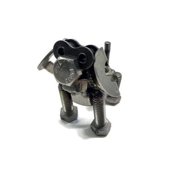 Scrap Metal Floppy Eared Dog Figurine, Steel Canine, Nuts and Bolts Puppy Sculpture