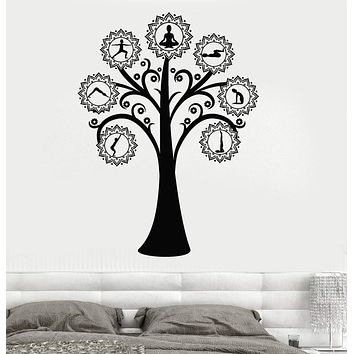 Vinyl Wall Decal Yoga Tree Pose Meditation Stickers Mural Unique Gift (ig3937)