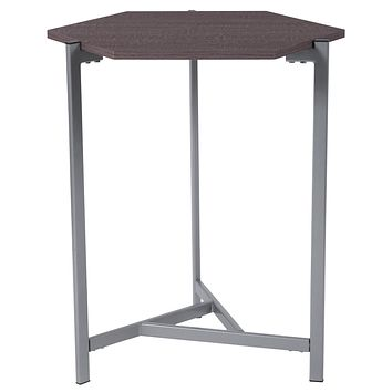 Back Bay Wood Grain Finish End Table with Metal Frame