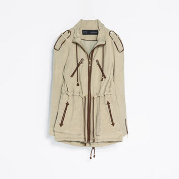 FLOWING SAFARI JACKET WITH PIPING