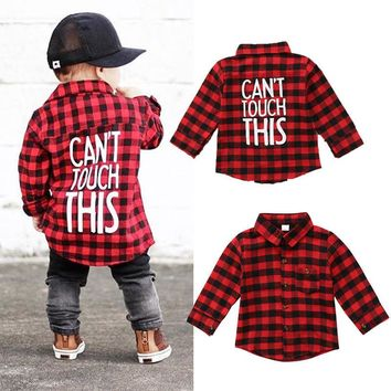 Can't Touch This - Baby Kid Child Toddler Newborn Plaid Boy Shirt