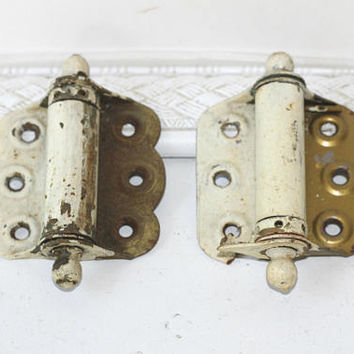 Pair Vintage Spring Hinges Brass | Covered with Old House Paint | Old Door Hinges | Antique Hinges | Metal Hardware | Vintage Industrial