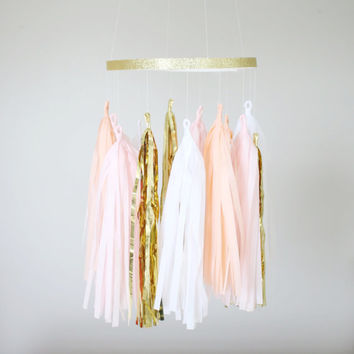 Peach and Gold Tassel Garland Mobile - Tassel Garland Baby Mobile, Tassel Chandelier, Party Decoration, Baby Mobile, Pink Nursery Decor