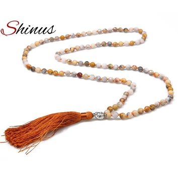 Shinus Necklaces Buddha head Necklaces & Pendant Trendy Strand Tassel Buddhism Hight Quality Natural Stone Long Women Meditation