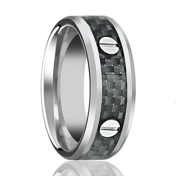 Black Carbon Fiber Inlaid Tungsten Wedding Band for Men with Screw Accent in Center - 8MM