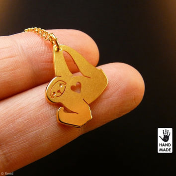 Tiny Confident SLOTH Handmade Gold Plated Sterling Silver .925 Necklace in a gift / present box