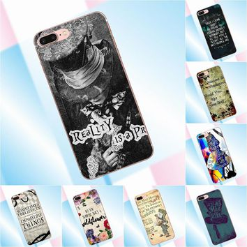 Tpwxnx For Samsung Galaxy A3 A5 A7 J1 J2 J3 J5 J7 2015 2016 2017 TPU Hot Selling Alice In Wonderland Quote Pretty Mad Hatter Art