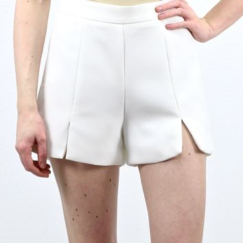 Sassy Slit Front High Waisted Shorts {White}