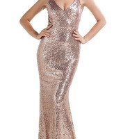Gold Open Back Sequins Gown