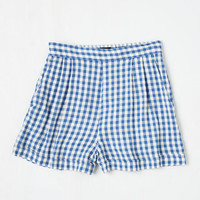 Vintage Inspired Short Length I Think, Therefore I Gingham Shorts in Blue by ModCloth