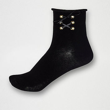 Black lace-up ankle socks - Tights & Socks - women