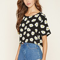 Floral Print Woven Crop Top