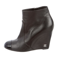 Chanel Cap-Toe Wedge Booties