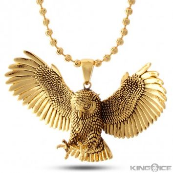 King Ice 14K Gold Great Horned Owl Necklace