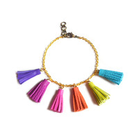 Colorful Leather Rainbow Tassel Bracelet | Boo and Boo Factory - Handmade Leather Jewelry
