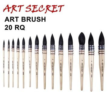 high quality paint brushes fine squirrel hair best quality watercolor art brush 20RQ short wooden handle
