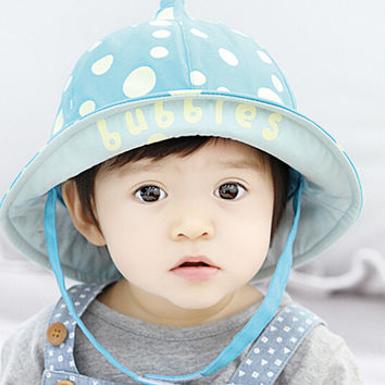 Cute Kids Blue Dots Fisherman Cap Comfortable Hot Summer Gift 44
