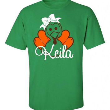 Turkey with Bow Personalized T-shirt or Onesuit - Fall Festive Party shirt Cute Autumn Thanksgiving Tee Shirt with Name