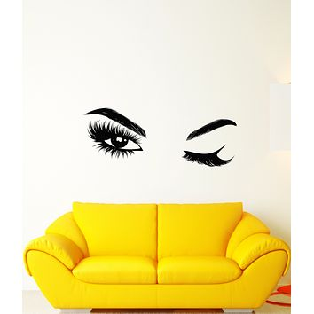 Vinyl Wall Decal Beautiful Sexy Girl Eyes Winking False Eyelashes Stickers (3784ig)