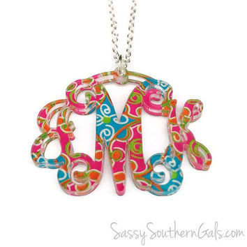 Monogram Acrylic Necklace | Custom Patterns | Monogram Necklace | Gift for Her
