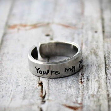 You're My Person Ring / Adjustable / Couples Ring / BFF Gift / You Are My Person / Aluminum / Hand Stamped Custom Ring