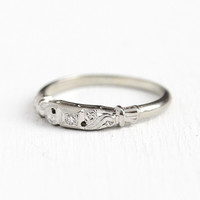 Vintage Wedding Band - 18k White Gold Diamond Ring - Size 7 1/2 Mid Century 1950s Wedding Fine Bridal Solitaire Diamond Flower Jewelry