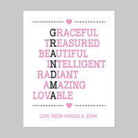 Valentine's Gift for Mom, Canvas or Print, Acrostic Poem For Grandma, Personalize it!