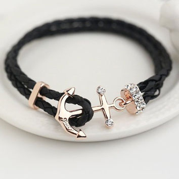 Black Wrap Anchor Bracelet