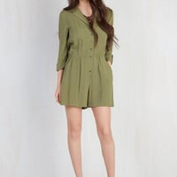 So Field With Joy Romper in Olive | Mod Retro Vintage Shorts | ModCloth.com