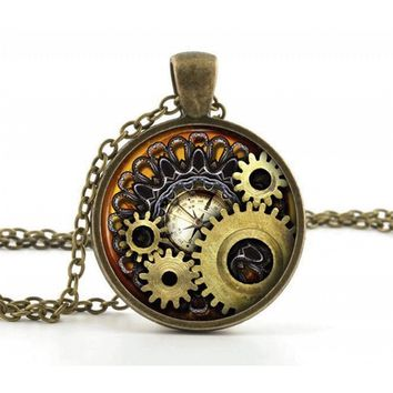 Vintage Steampunk Necklace Pendant - Bronze Compass Gears Cog Jewelry & Gift Box