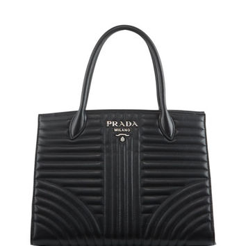 Prada Impunture Medium Quilted Leather Tote Bag