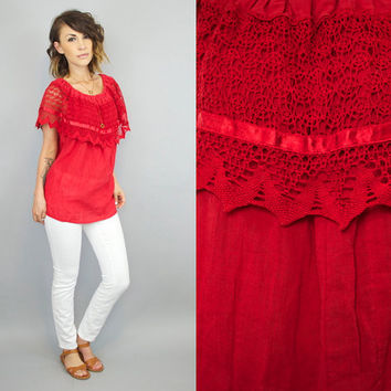 vintage 1980's crocheted MEXICAN bohemian peasant COTTON GAUZE blouse top, extra small-medium