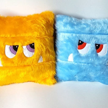 CUSTOM kids pj cushion. COLOUR and INITIAL faux fur child's monster toy Pyjama pillow cushion case. 12 inch square