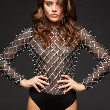 Shine On You Crazy Diamond Bodysuit with Sequins and Studs