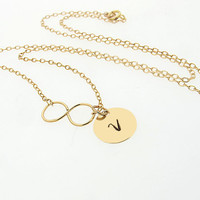 Gold Infinity Personalized Necklace / Dainty Initial Charm Necklace / Floating Initial Tag