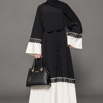 Chicloth Muslim Women Fashion Belt Black White Lace Hem Cardigan Dress