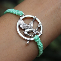 Mockingjay pin bracelet,catching fire bracelet,woven bracelet,personalized bracelet,7 colors for choice