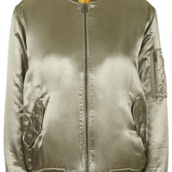 High Shine MA1 Bomber Jacket - Khaki