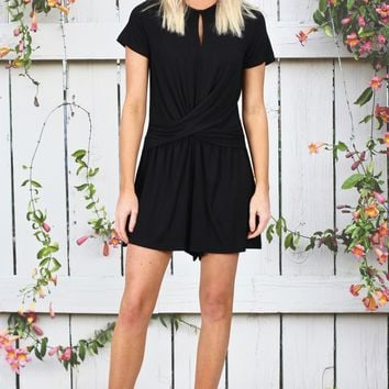 Casual Chic Twisted Front Romper {Black}