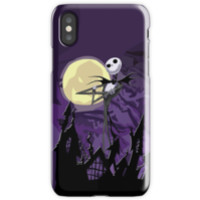 'Halloween Skinny Ghost with purple sky' iPhone Case/Skin by Galih Sanjaya Kusuma wiwaha