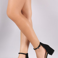 City Classified Nubuck Ankle Strap Open Toe Block Heel